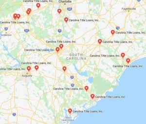 SC Title Loan Store Locations Map